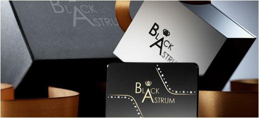 Black Astrum, tarjetas de visita con diamantes incrustados